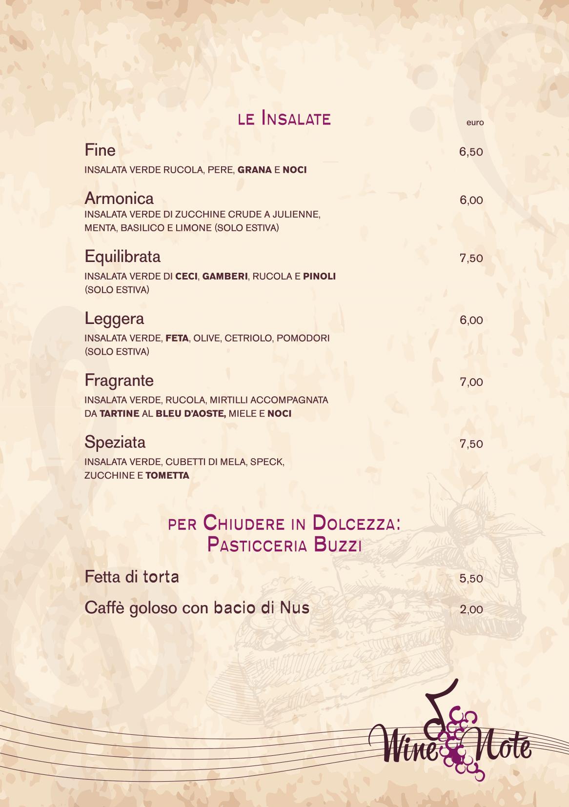Wine note menu e vini A5-05