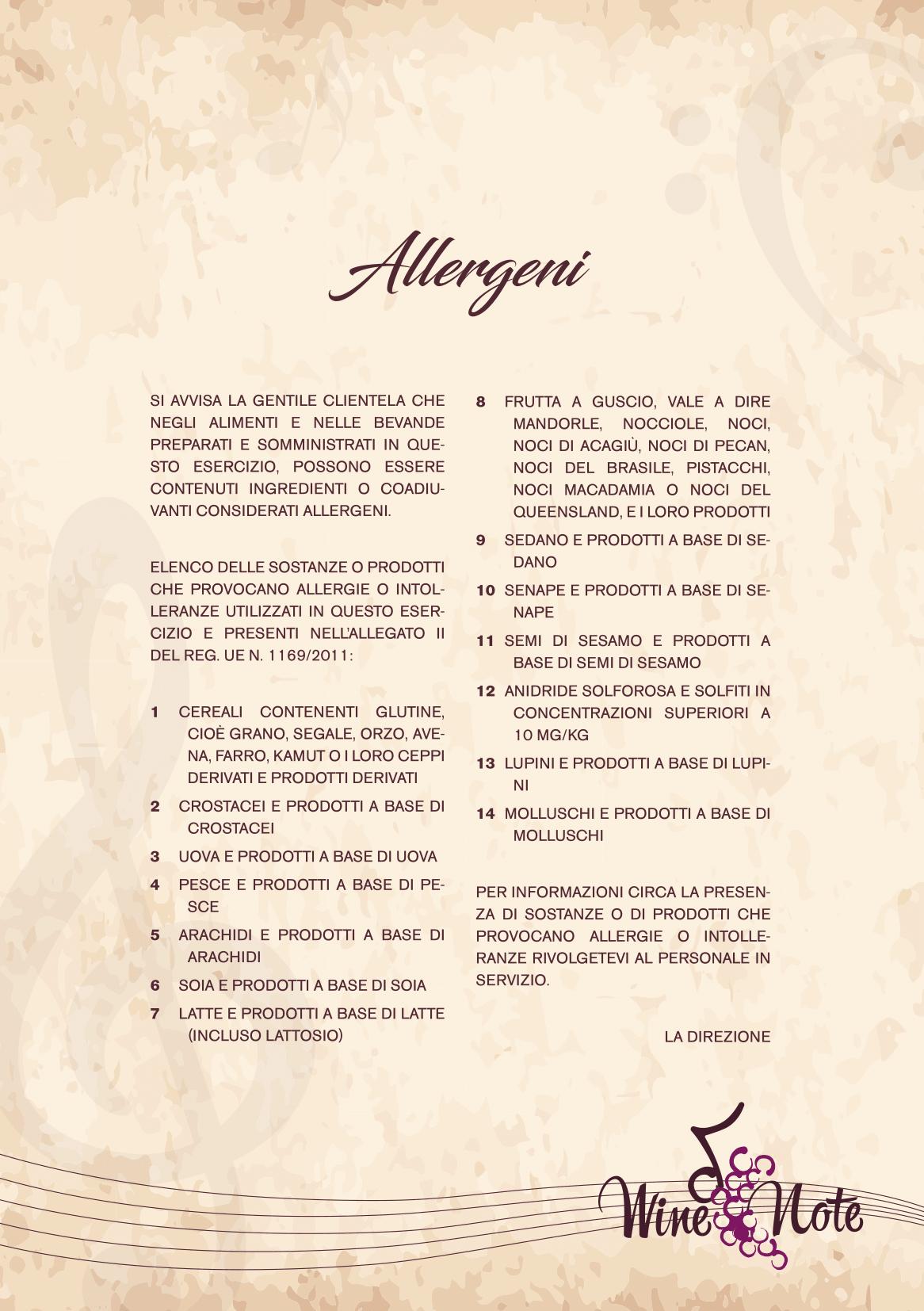 Wine note menu e vini A5-06
