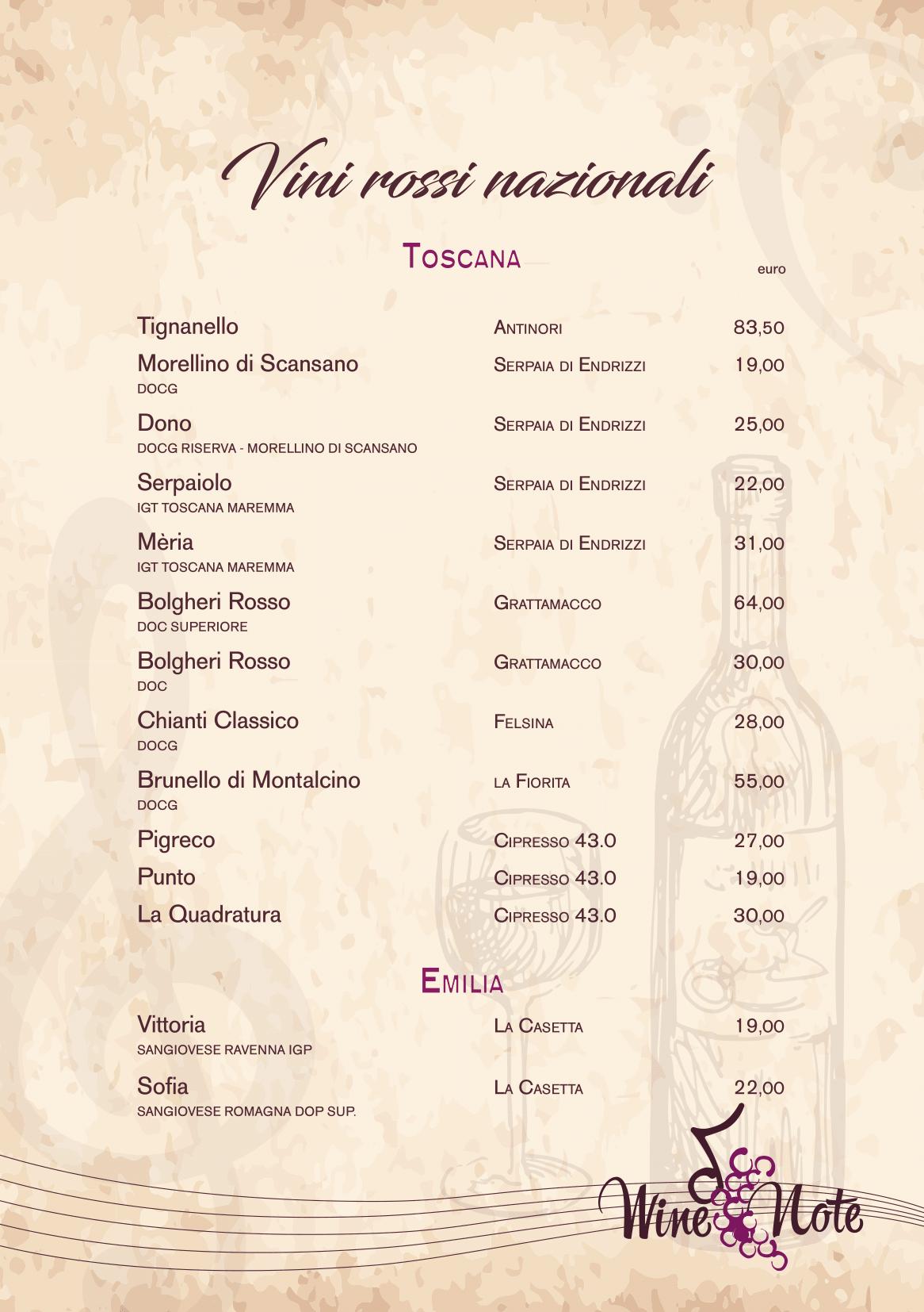 Wine note menu e vini A5-09