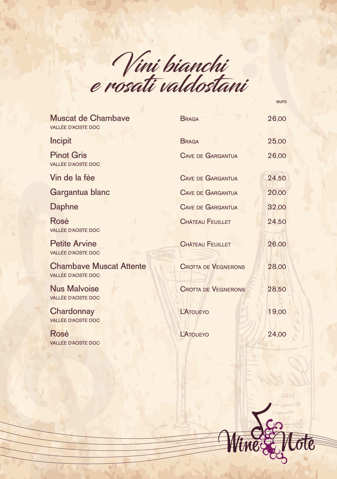 Wine note menu e vini A5-13