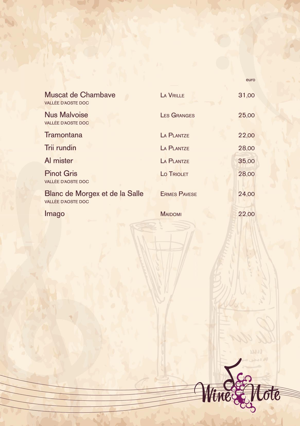 Wine note menu e vini A5-14