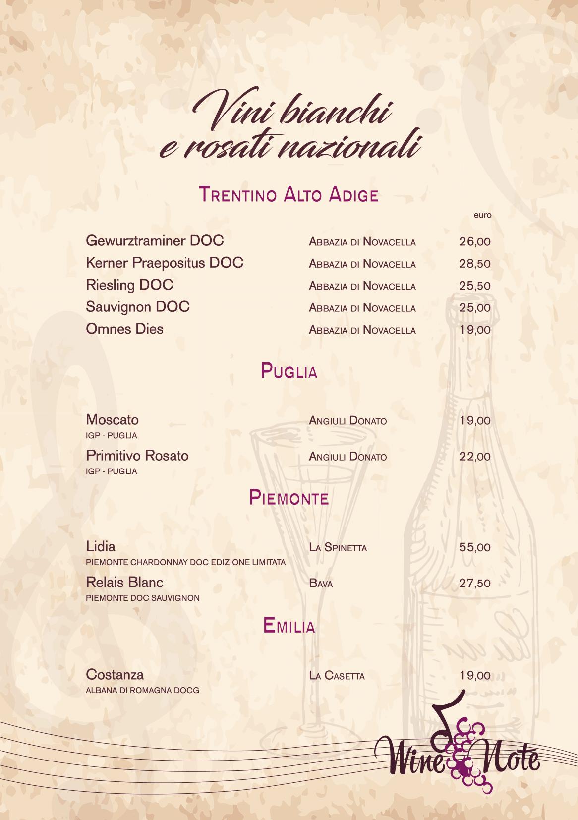 Wine note menu e vini A5-15