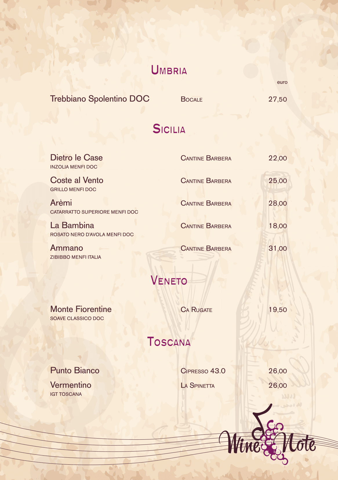 Wine note menu e vini A5-16