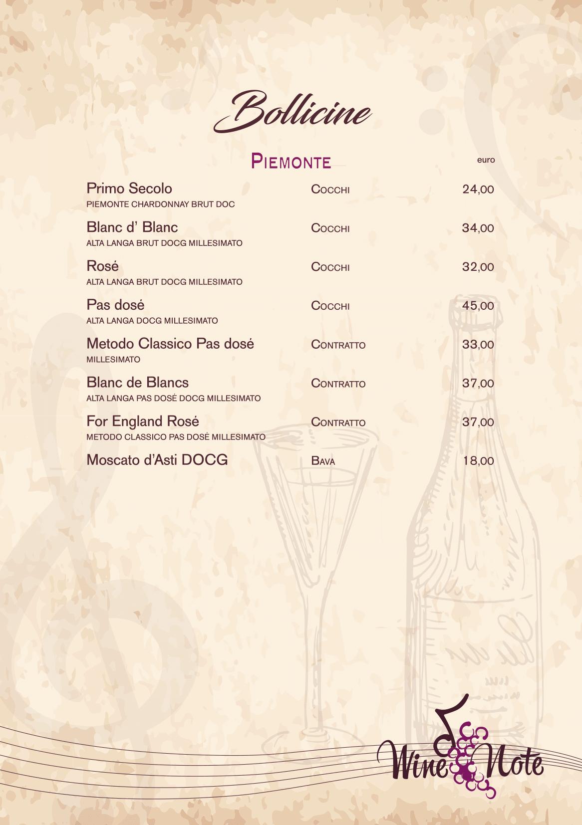 Wine note menu e vini A5-17