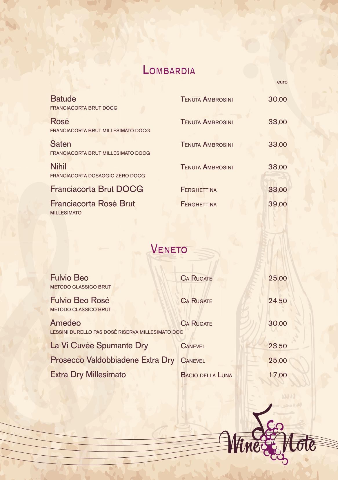 Wine note menu e vini A5-18