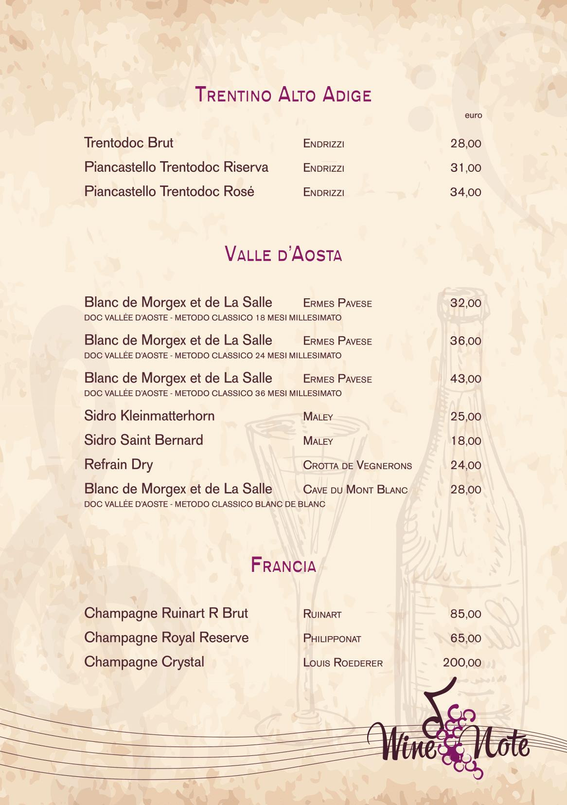 Wine note menu e vini A5-19