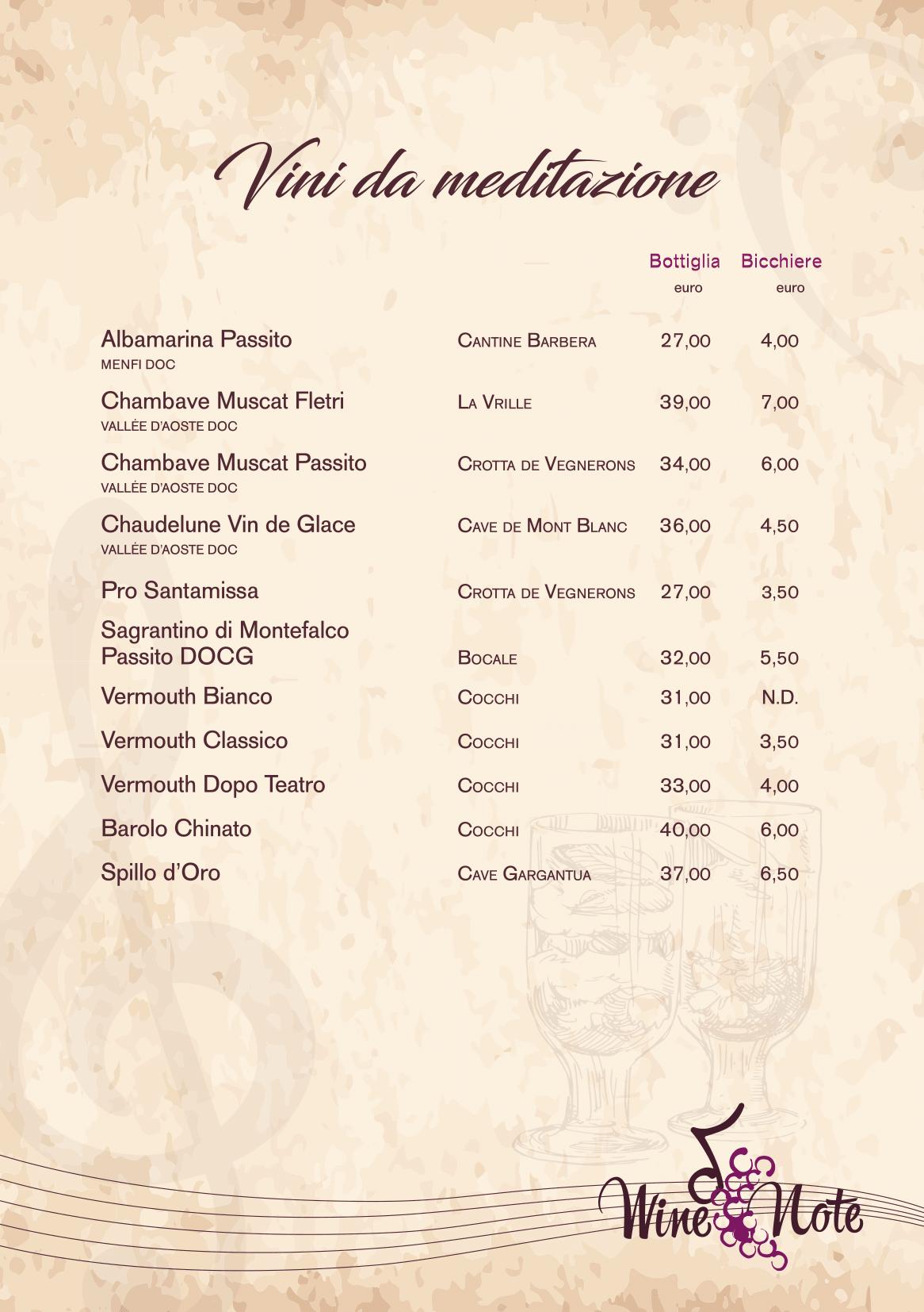 Wine note menu e vini A5-20