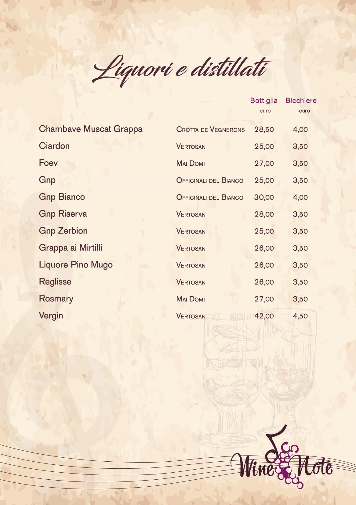 Wine note menu e vini A5-21